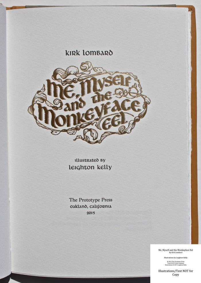 Me, Myself and the Monkeyface Eel, The Prototype Press, Title Page
