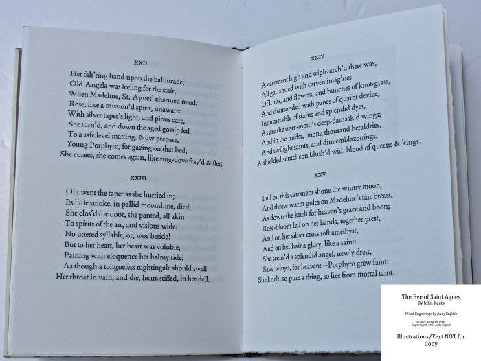 The Eve of Saint Agnes, Barbarian Press, Sample Text #3