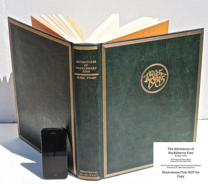 The Adventures of Huckleberry Finn, Pennyroyal Press, Spine And Covers (iPhone for Scale)