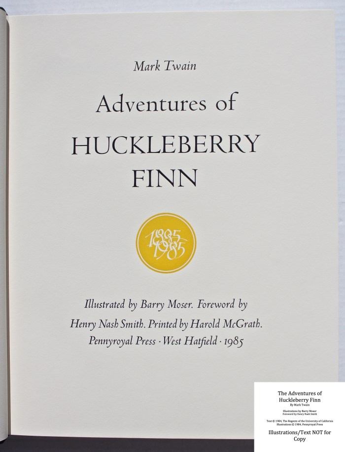 The Adventures of Huckleberry Finn, Pennyroyal Press, (half) Title Page