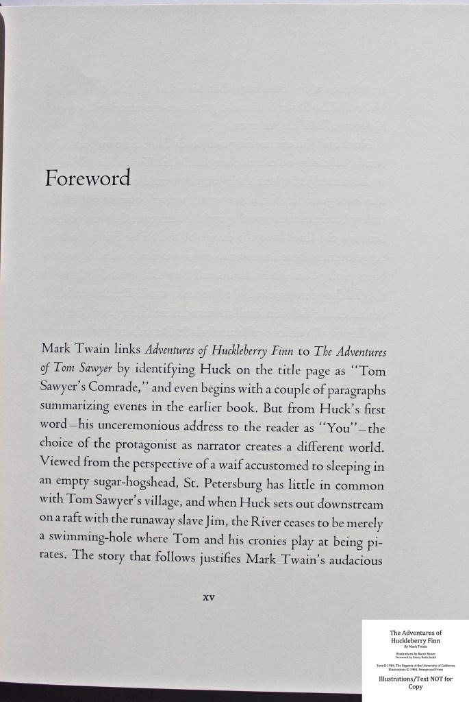 The Adventures of Huckleberry Finn, Pennyroyal Press, Sample Text #2 (Forward)