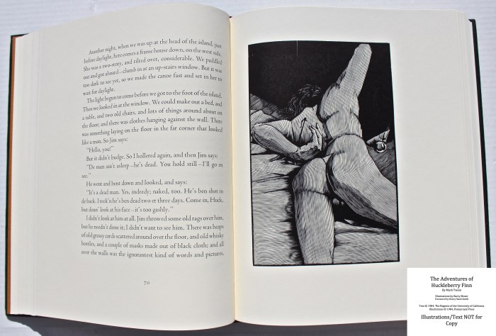 The Adventures of Huckleberry Finn, Pennyroyal Press, Sample Illustration #5 with Text