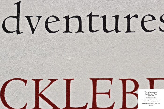 The Adventures of Huckleberry Finn, Pennyroyal Press, Macro of Title Page