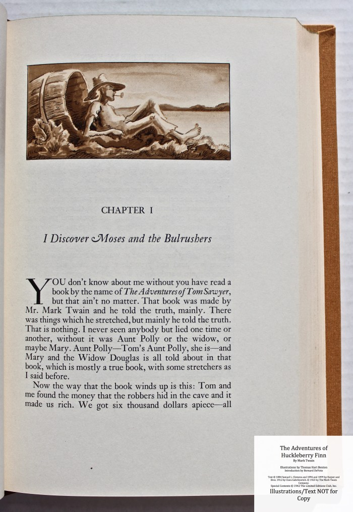 The Adventures of Huckleberry Finn, Limited Editions Club (1942), Sample Illustration #1 with Text