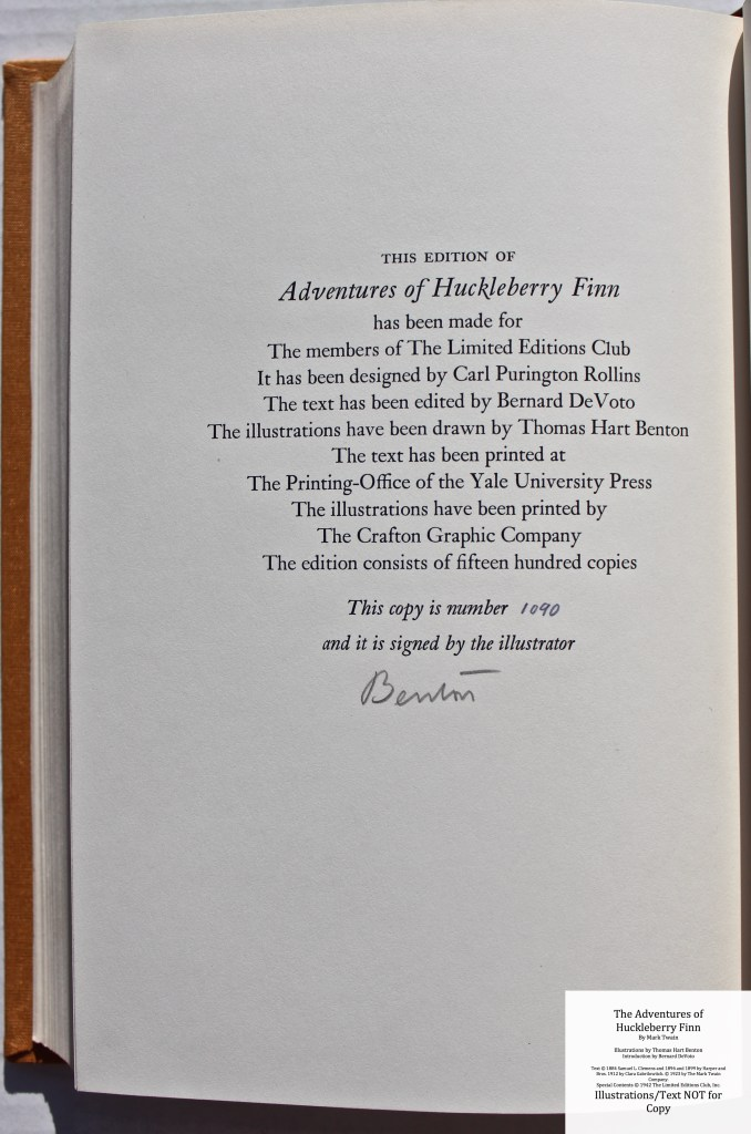 The Adventures of Huckleberry Finn, Limited Editions Club (1942), Colophon