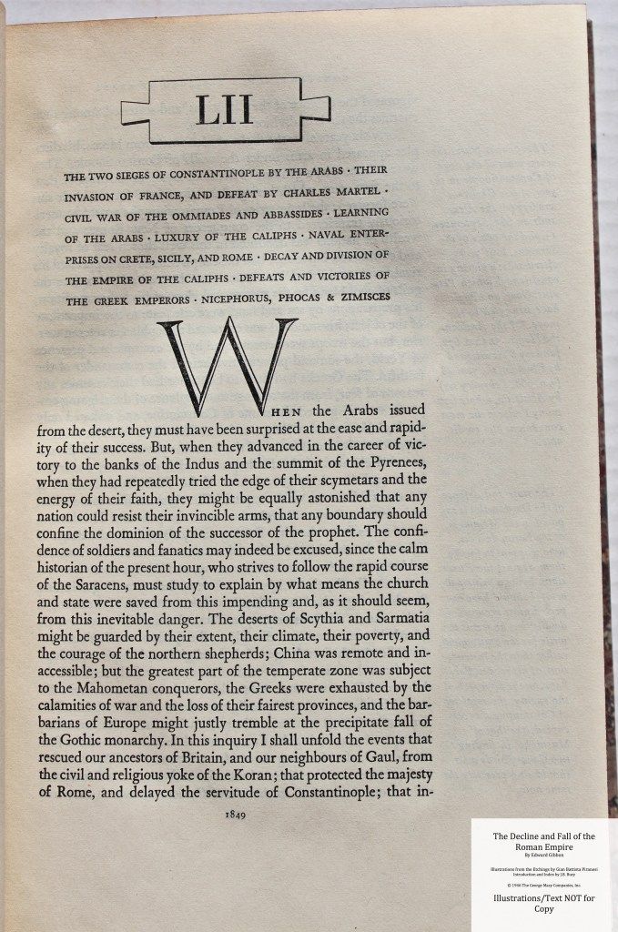 The Decline and Fall of the Roman Empire, Limited Editions Club, Sample Text #9