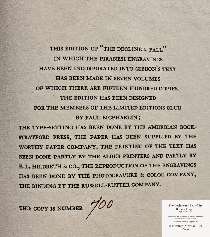 The Decline and Fall of the Roman Empire, Limited Editions Club, Colophon
