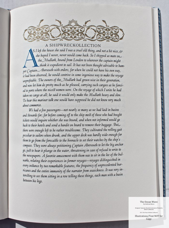 The Ocean Wave, The Press of Robert LoMascolo, Sample Text 1 with Decoration