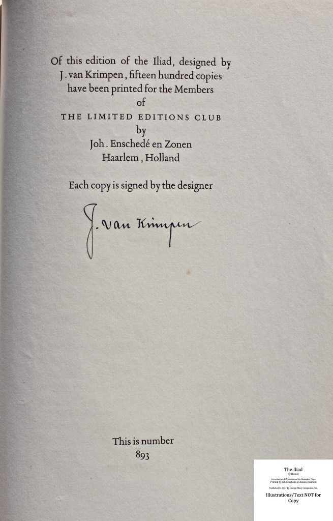 The Iliad, Limited Editions Club, Colophon