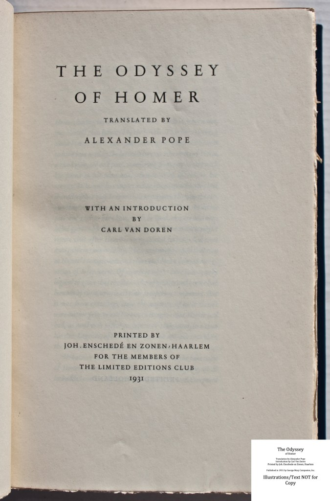 The Odyssey, Limited Editions Club, Title Page