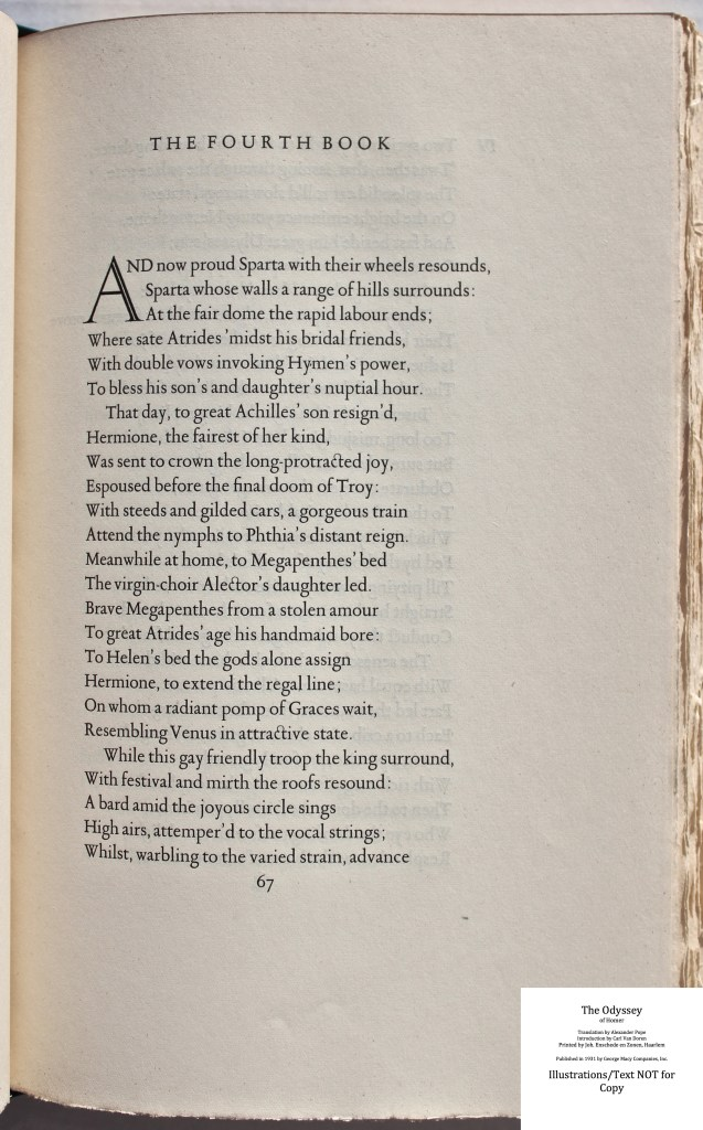 The Odyssey, Limited Editions Club, Sample Text #5
