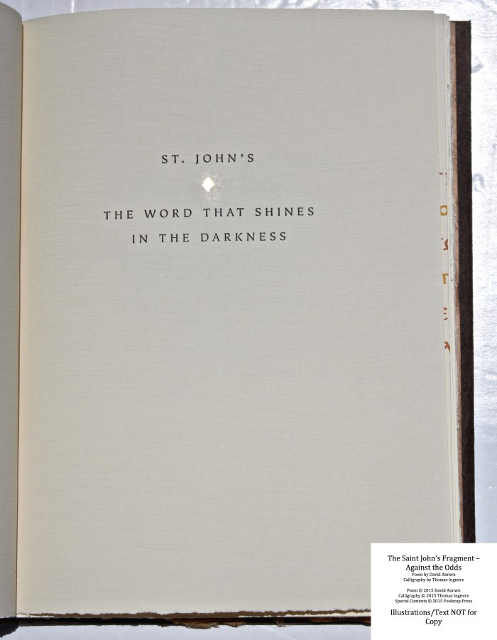 The Saint John's Fragment - Against the Odds, Foolscap Press, Spine and Covers