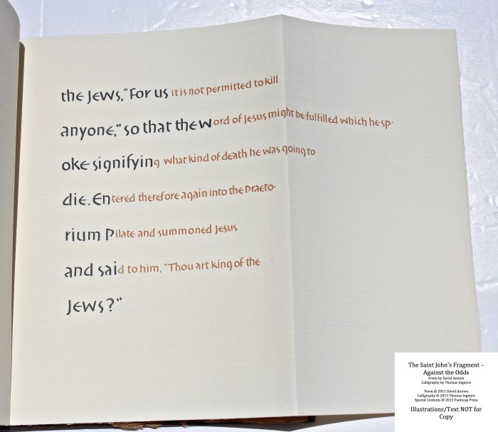 The Saint John's Fragment - Against the Odds, Foolscap Press, Fragment, front completed (English)