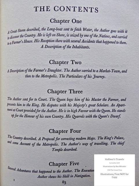 Gulliver's Travels, Cresset Press, A Voyage to Brobdingnag - Table of Contents