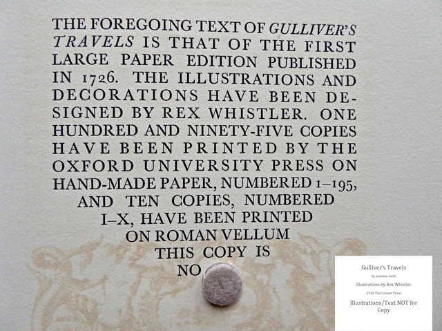 Gulliver's Travels, Cresset Press, Colophon