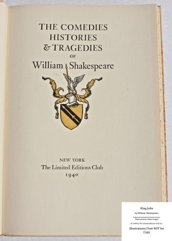 King John, Limited Editions Club, Series Title Page