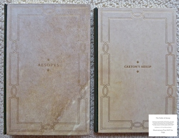 The Fables of Aesop, Officina Bodoni, Covers or Vol. 1 Aesopus (Latin & Italian) and Vol. 2 Caxton's English translation