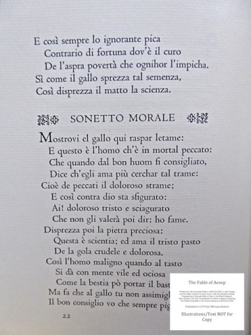 The Fables of Aesop, Officina Bodoni, Sample Text #2 - Fable Two: the moral of the fable in Italian (Sonetto Morale)