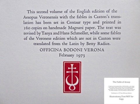 The Fables of Aesop, Officina Bodoni, Colophon to Volume Two