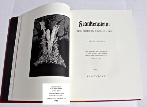 Frankenstein, Pennyroyal Press, Frontispiece and Title Page of Volume I