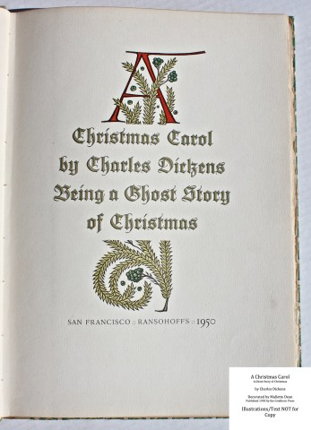A Christmas Carol, Grabhorn Press, Title Page