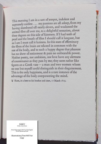 Fancy: 8 Odes of John Keats, Barbarian Press, Sample Text #6 - Quote from Keats letter (One On Indolence)