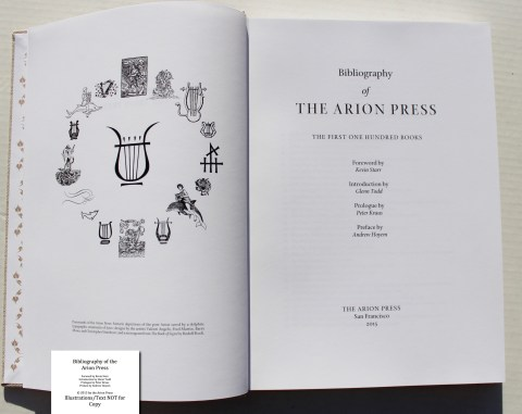 Bibliography of the Arion Press, Arion Press, Frontispiece and Title Page