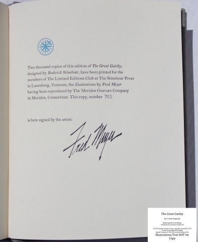 The Great Gatsby, Limited Editions Club, Colophon
