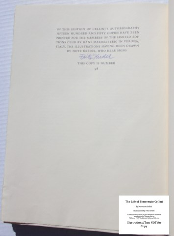 The Life of Benvenuto Cellini, Limited Editions Club, Colophon