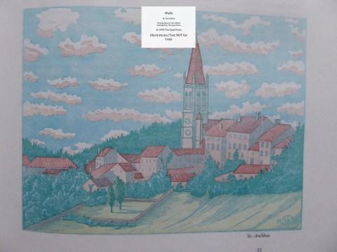 Walls, Quail Press, Sample Illustration #7 - Church in St. Antheme, Auvergne, central France