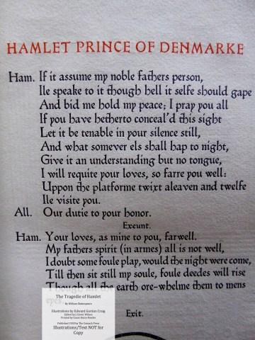 Hamlet, Cranach Press, Macro of Illustration Macro of Sample page No. 5.