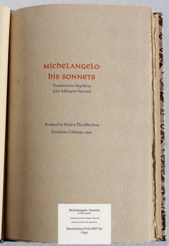 Michelangelo: Sonnets, Allen Press, Title Page