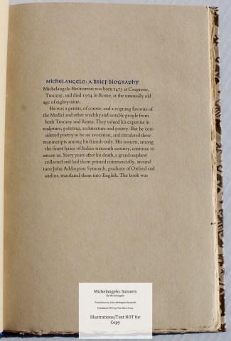 Michelangelo: Sonnets, Allen Press, Sample Text #1