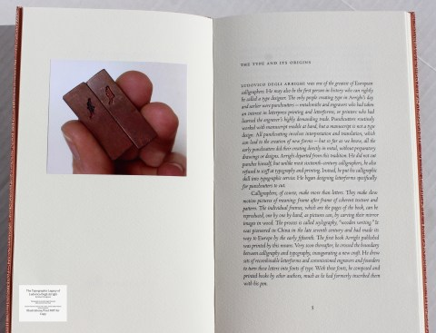 The Typographic Legacy of Ludovico degli Arrighi, Peter Koch Printers, Photograph and Sample Text #1