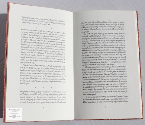 The Typographic Legacy of Ludovico degli Arrighi, Peter Koch Printers, Sample Text #2