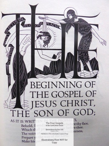 The Four Gospels, Golden Cockerel Press, Opening page of The Gospel According to Saint Mark