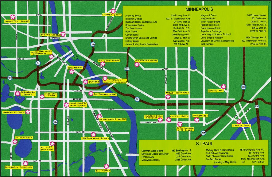 Twin Cities Bookstore Map
