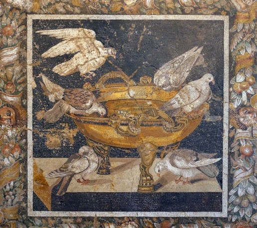 Pompeii mosaic of birds, which survived after the destruction of Pompeii in 79AD