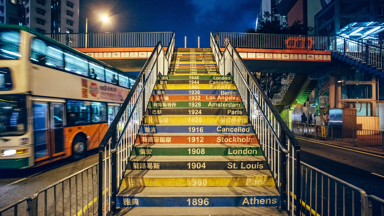 past Olympic games are written on each stair step, from Athens 1896 to cancelled Olympics