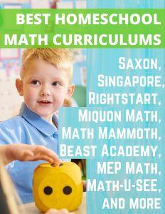 Best Homeschool Math Curriculums Math U See review, Teaching Textbooks review, Saxon Math for homeschool review, Singapore Math review, Rightstart Math review, Beast Academy online review, Math Mammoth review