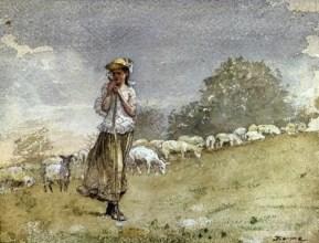 homer WinslowTending Sheep, Houghton Farm