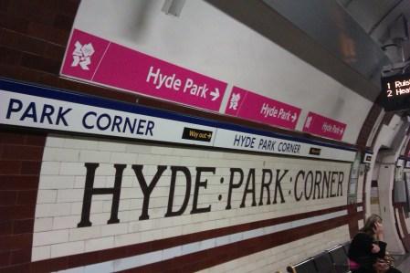 Signage on a platform at Hyde Park Corner station