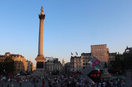 Trafalgar Square with the Paralympic countdown clock