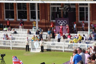The teams step out from the Pavilion