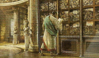 Scrolls in pigeonholes in the ancient Library of Alexandria.