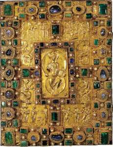 Codex Aureus of St. Emmeram, encrusted with emeralds, sapphires, rubies, garnets, agate, and pearls. This lavish book does not contain an entire Bible, but only the four Gospels. (Click for larger image.)