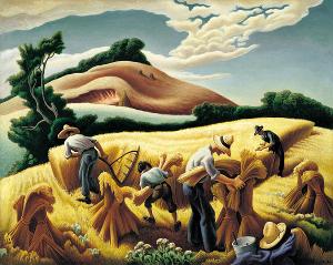 Human Prosperity: Thomas Hart Benton, 'Cradling Wheat'