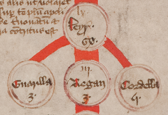 A pedigree showing King Lear and his three daughters on the 15th century Canterbury Roll. These suggest a speculative etymology of language as phenotype: how words reflect our thinking.