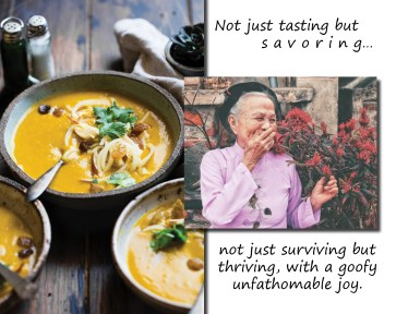 Asian woman elderly soup
