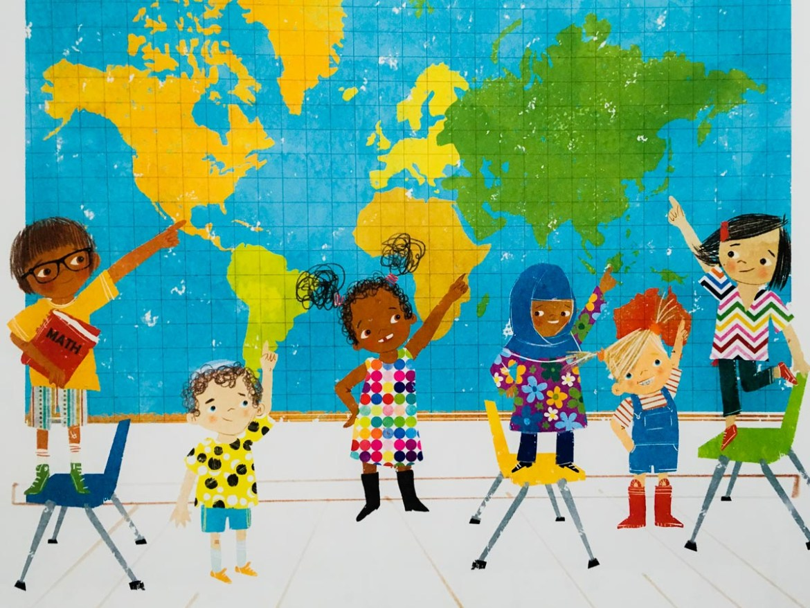 children pointing to world map